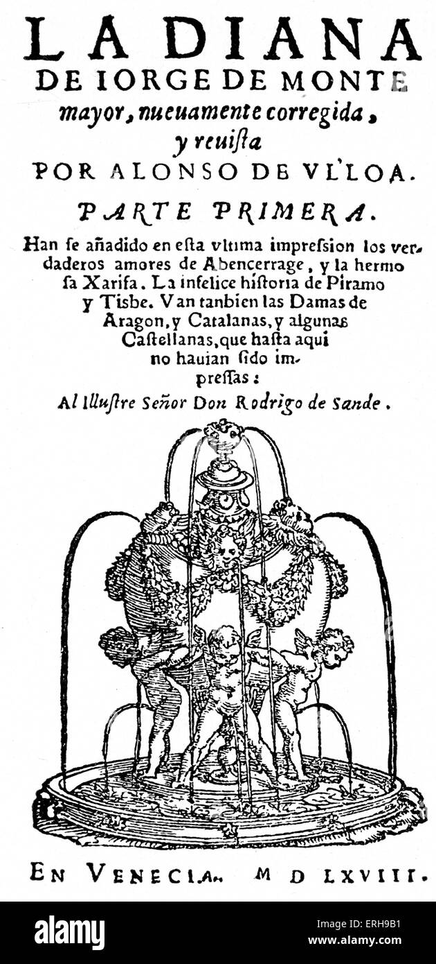 Jorge de Montemor 's 'Diana' - reproduction of title page of the first edition. Portuguese novelist - Stock Image