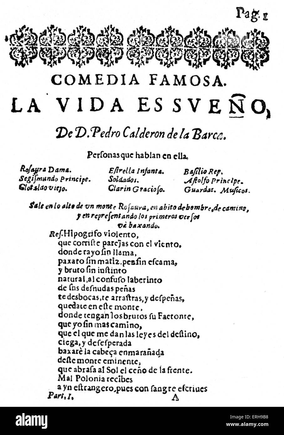 'La vida es sueno' - play by Pedro Calderón de la Barca  - first page of the first edition, 1640. Published - Stock Image