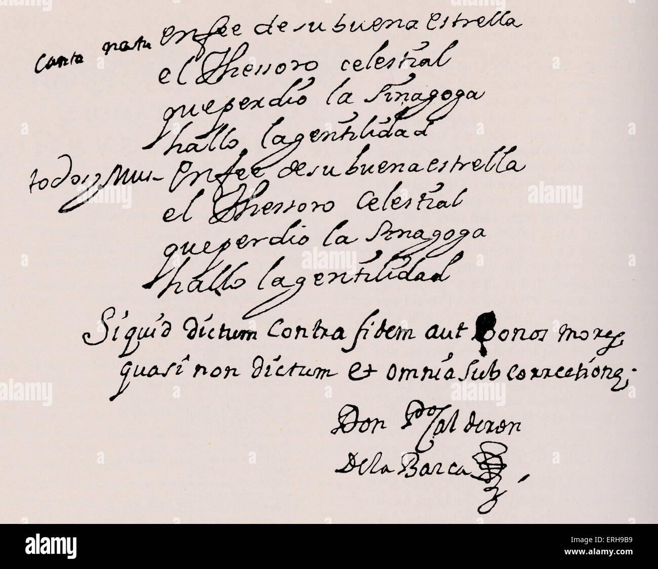 Pedro Calderón de la Barca 's signature at the bottom of manuscript page of 'Tesoro Escondido'. - Stock Image