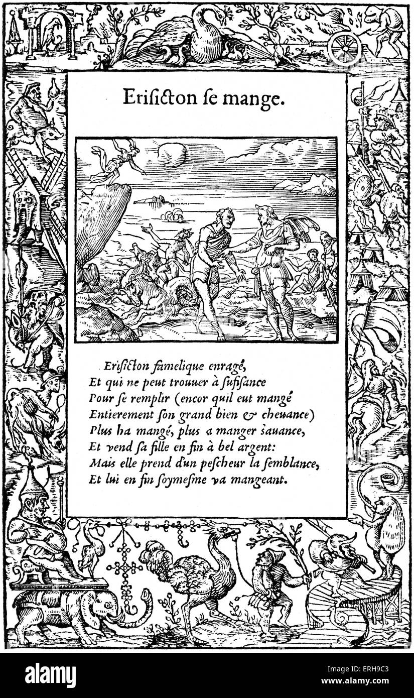 Ovid's Metamorphoses (French edition), 1557. From woodcut of page by Bernard Salomon. Showing Erysichthon, King - Stock Image