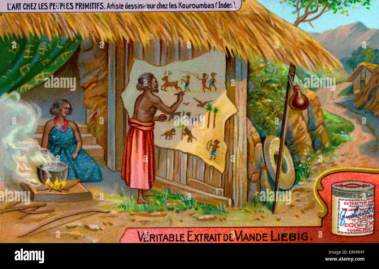 Kuruba drawings. Hindu groups in India, formerly shepherds.  Illustration on Liebig collectible card (French series:' - Stock Image