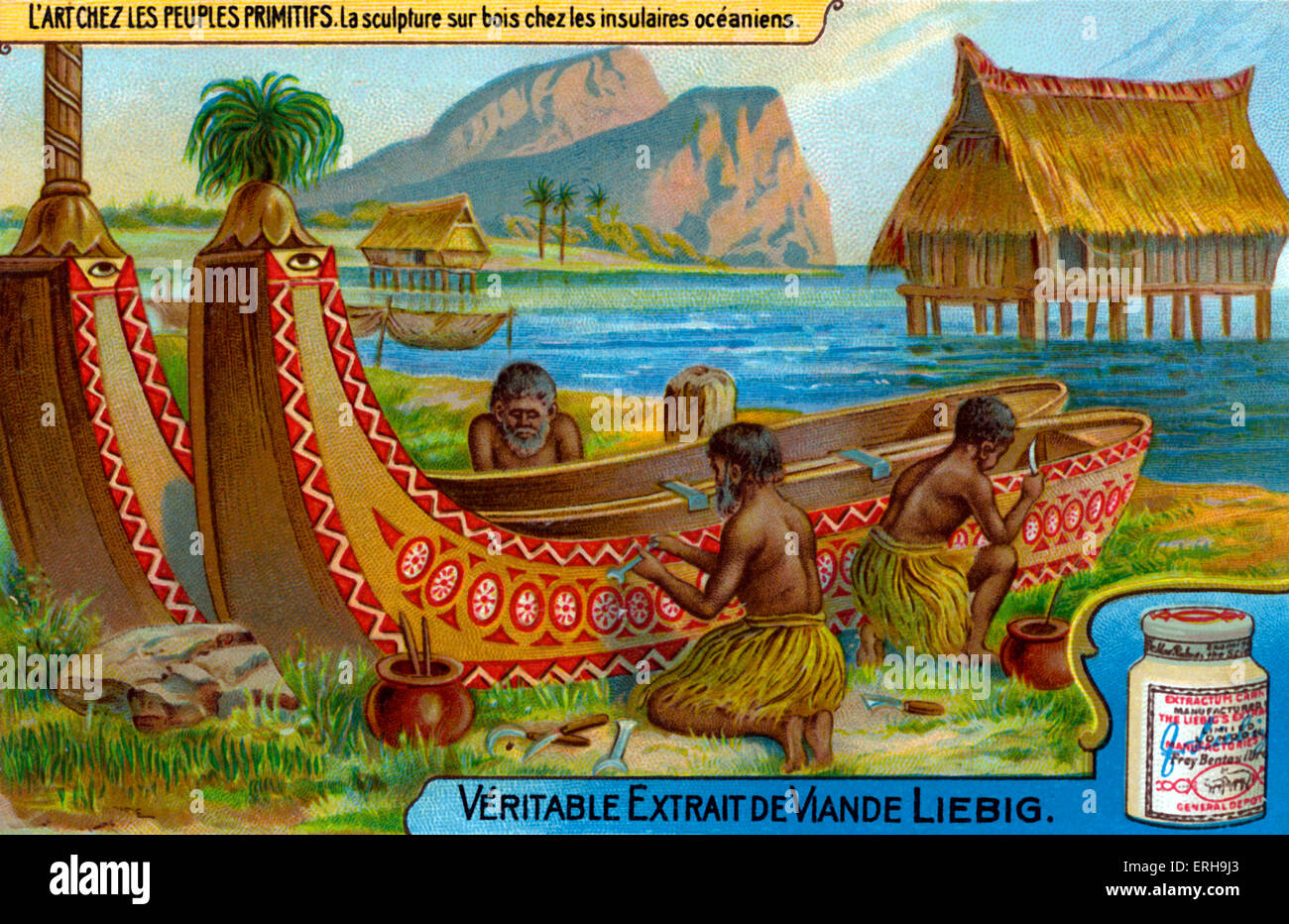 Pacific Island wood carving. Carving designs into boats.  Illustration on Liebig collectible card (French series:' - Stock Image