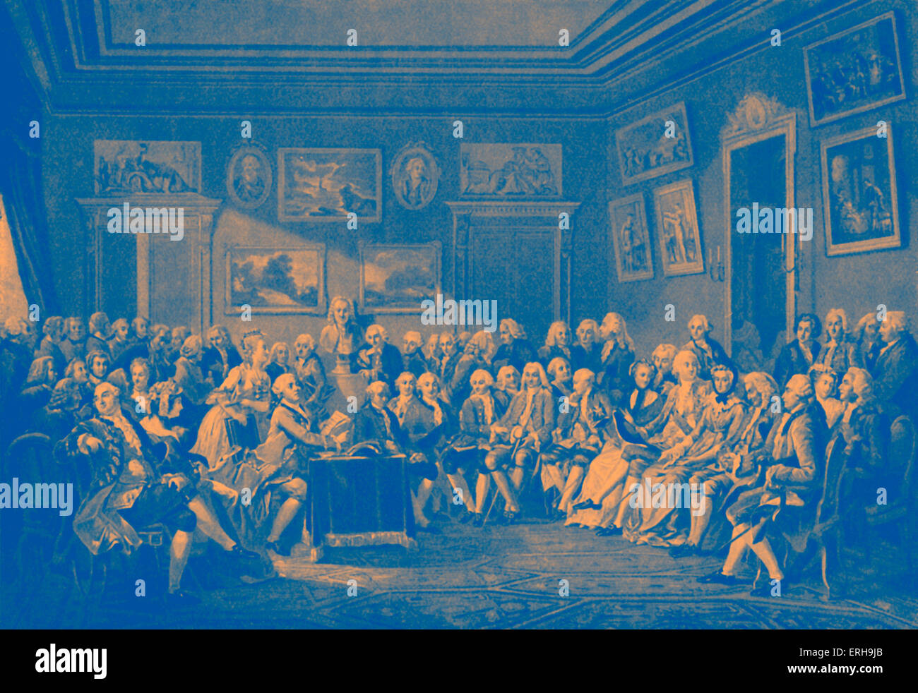 Reading of Voltaire's play  'Orphelin de la Chine' at salon of Madame Geoffrin in presence of well-known - Stock Image