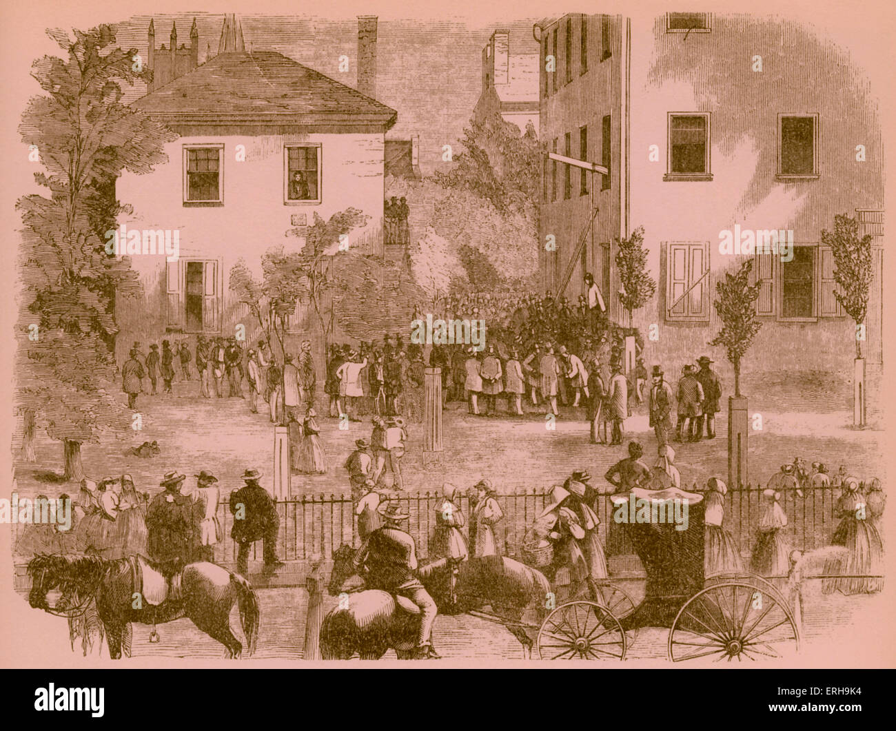 19th century lynching at a Kentucky courthouse. Artist unknown, 1860s. - Stock Image