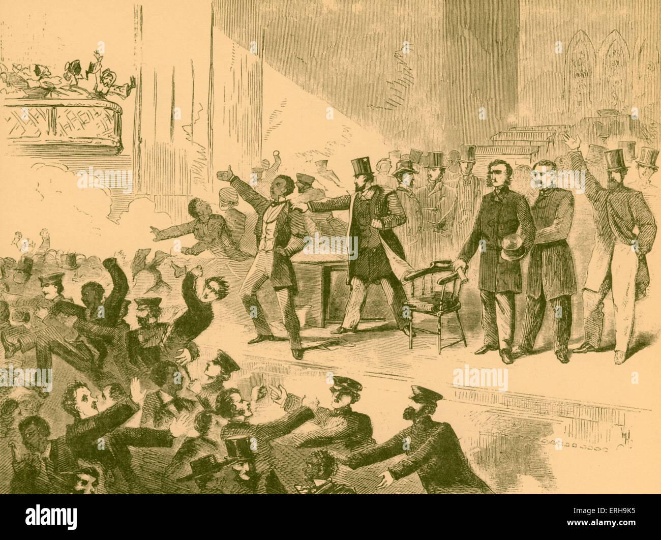 19th century abolitionist anti-slavery meeting, Virginia, America. Artist unknown, pre-Civil War. - Stock Image