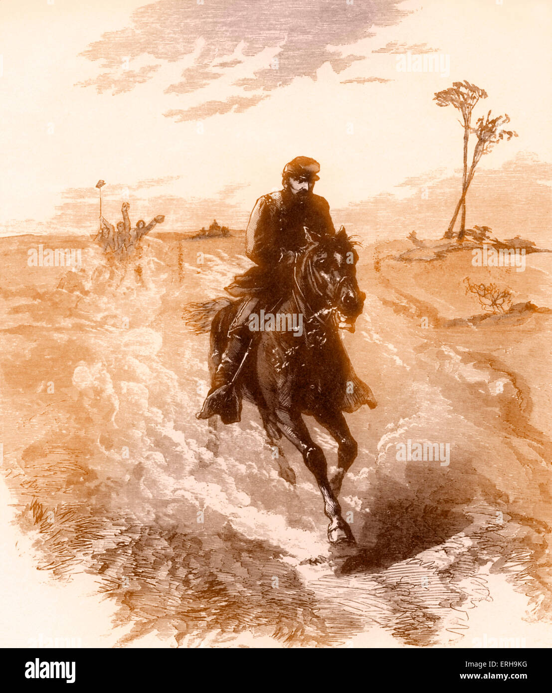 American Civil War Union general Philip Sheridan rides to the front. Illustration by Sol Eytinge (1833-1905), 1860s. - Stock Image