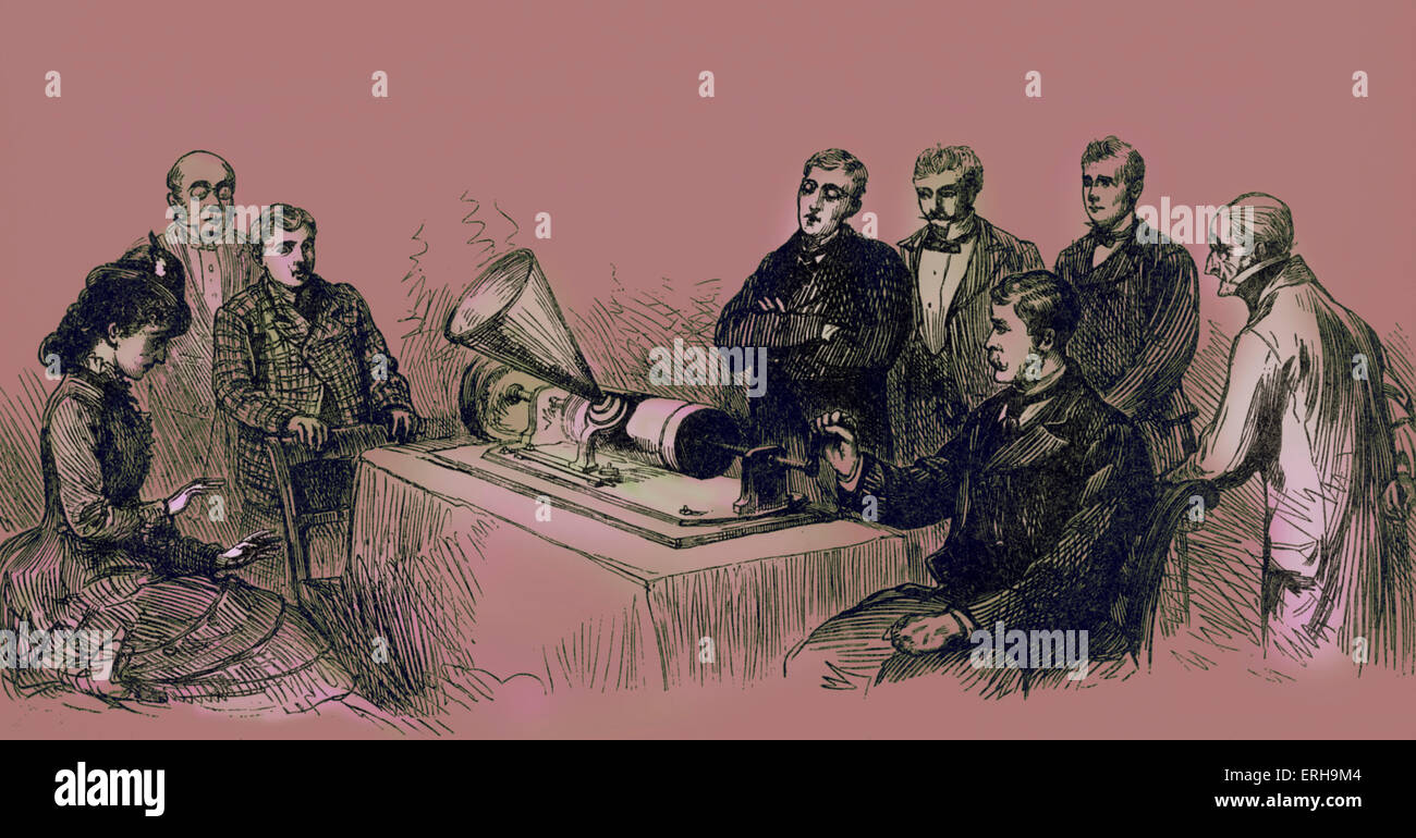 'Reproducing speech'. Demonstration of Thomas Ediso n's Phonograph by the New York Telephone Company - Stock Image