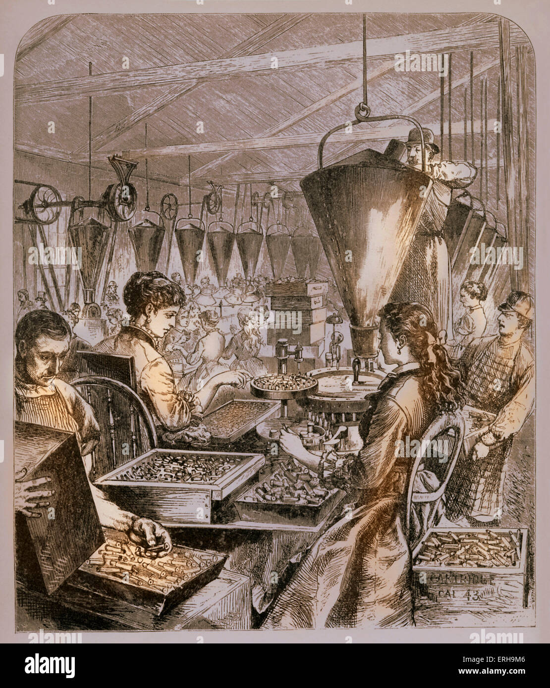 Munitions factory -  America 19th century- afterAmerican Civil War - in Bridgeport, Connecticut.  Female workers. - Stock Image