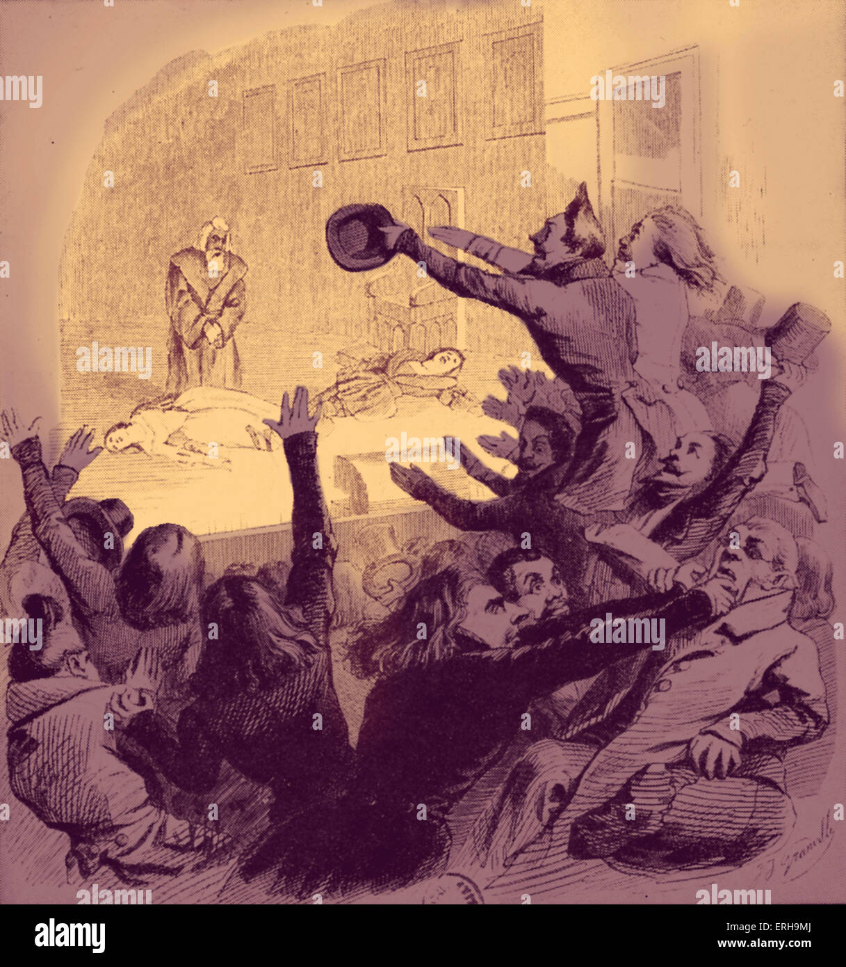 Premiere of  Victor Hugo 's Hernani. Caricature of the time.  Illustration showing the play's chaotic reception - Stock Image
