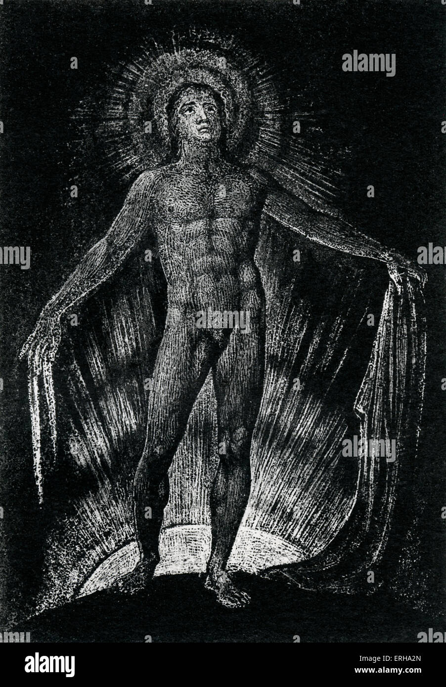 Milton Advancing Disrobed and Ungirded, from page 13 of the poem 'Milton' by William Blake, 1804-1811. English - Stock Image