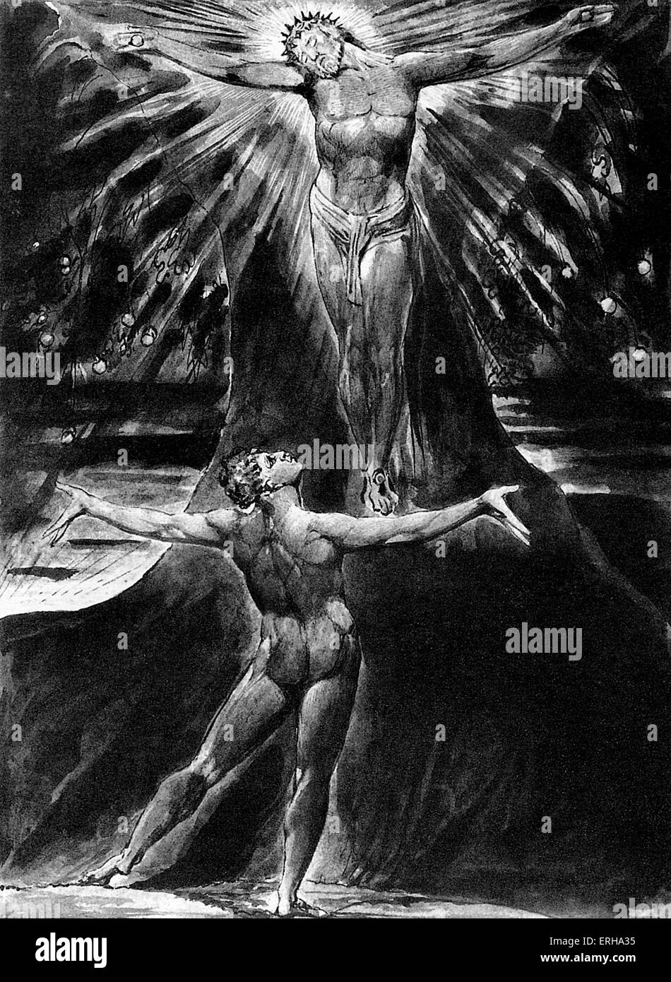 Albion Contemplating Jesus Crucified, page 76 of the poem 'Jerusalem' by William Blake, 1804-1820. English - Stock Image
