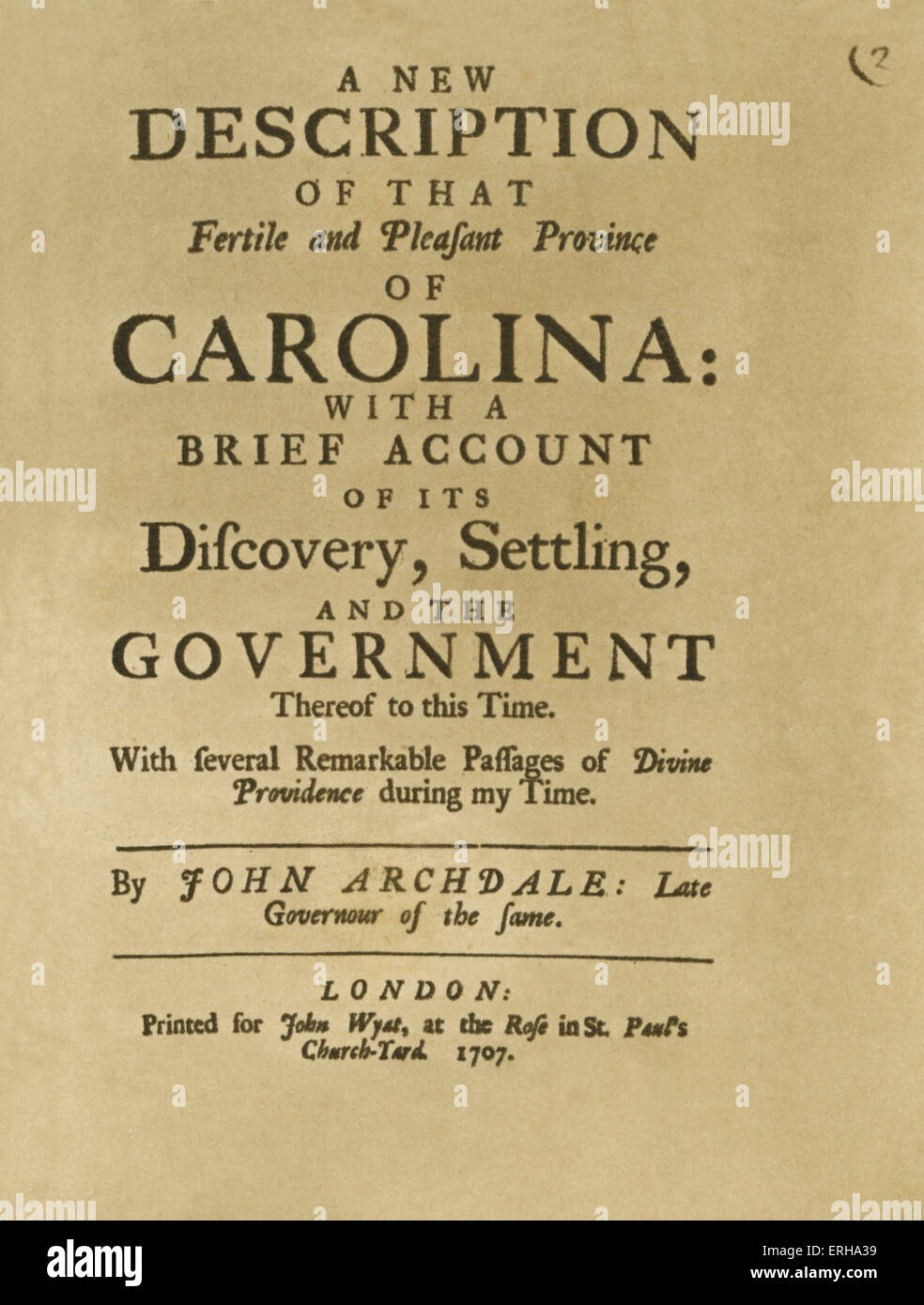 Titlepage: 'A New Description of that Fertile and Pleasant Province of Caroline: With a Brief Account of its - Stock Image