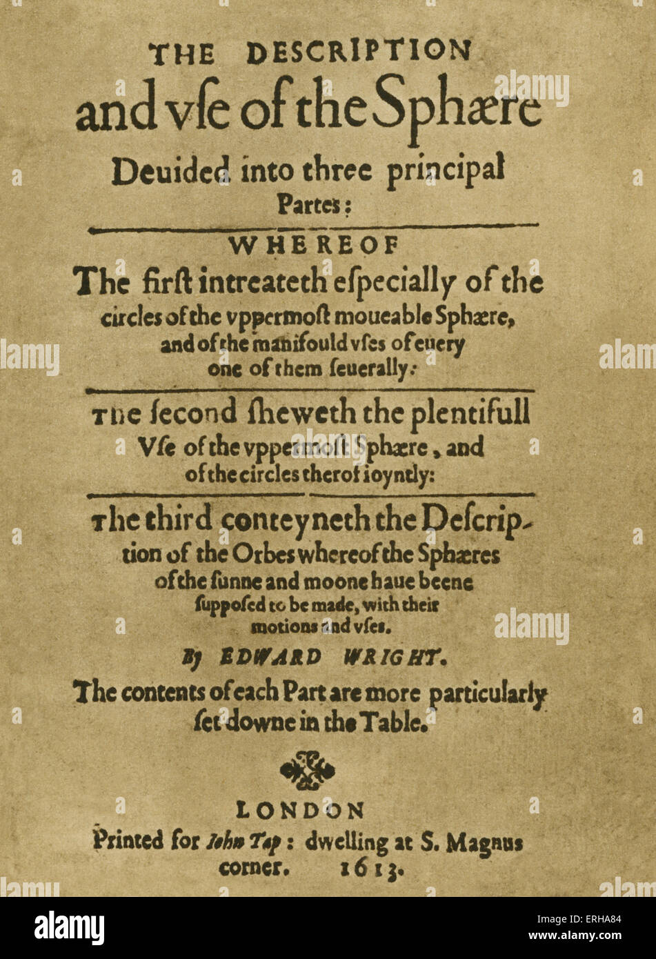 Title page: 'The Description and Use of the Sphere, divided into three principal parts' by Edward Wright - Stock Image