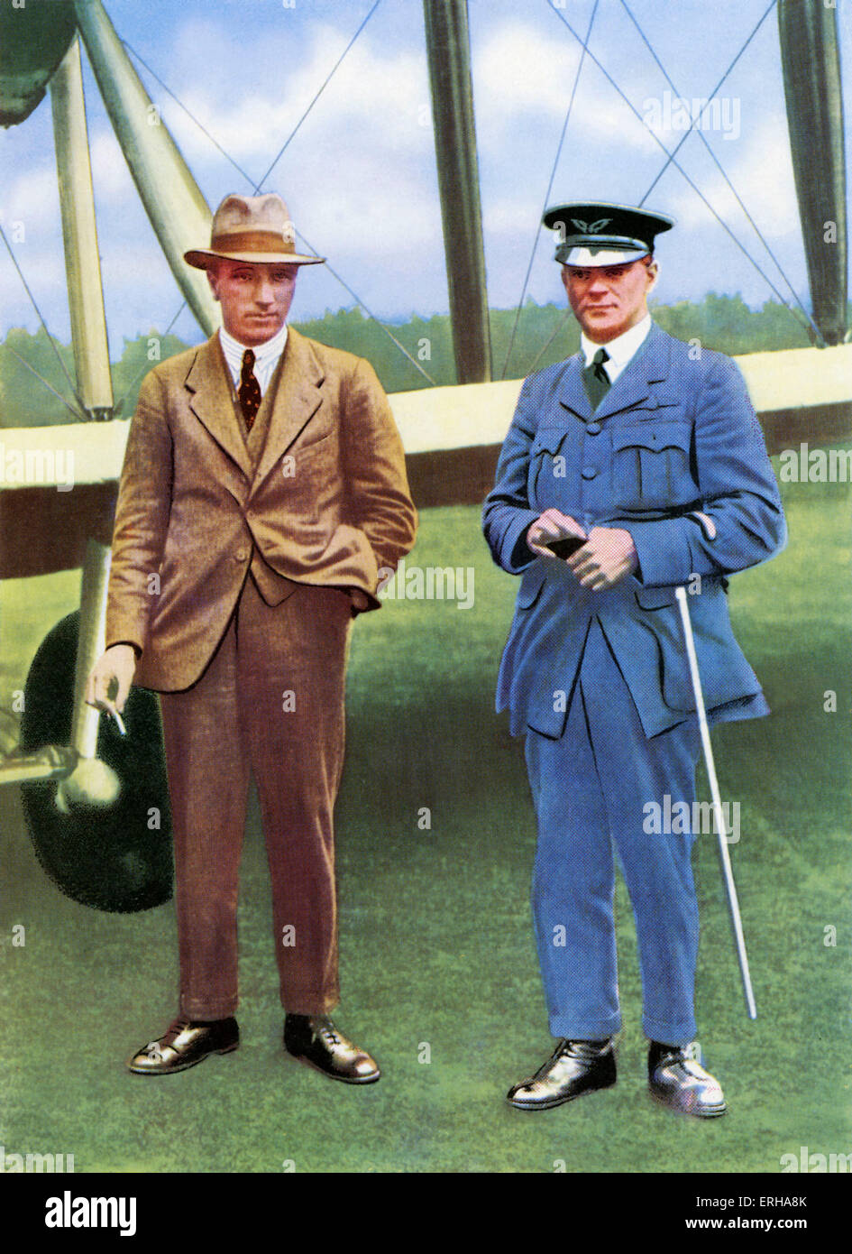 John Alcock (1892-1919) with Arthur Whitten Brown (1886-1948). Alcock and Brown piloted the first non-stop transatlantic Stock Photo