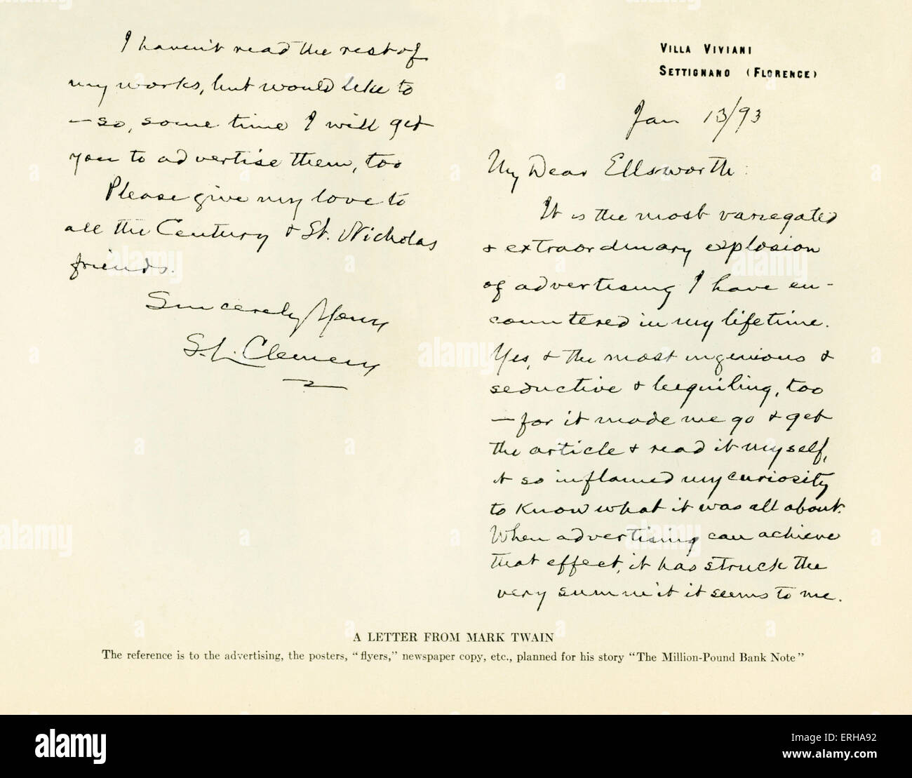 A letter sent from Mark Twain (1835-1910)  to the publisher William Ellsworth (1791-1868). Letter reads: 'My - Stock Image