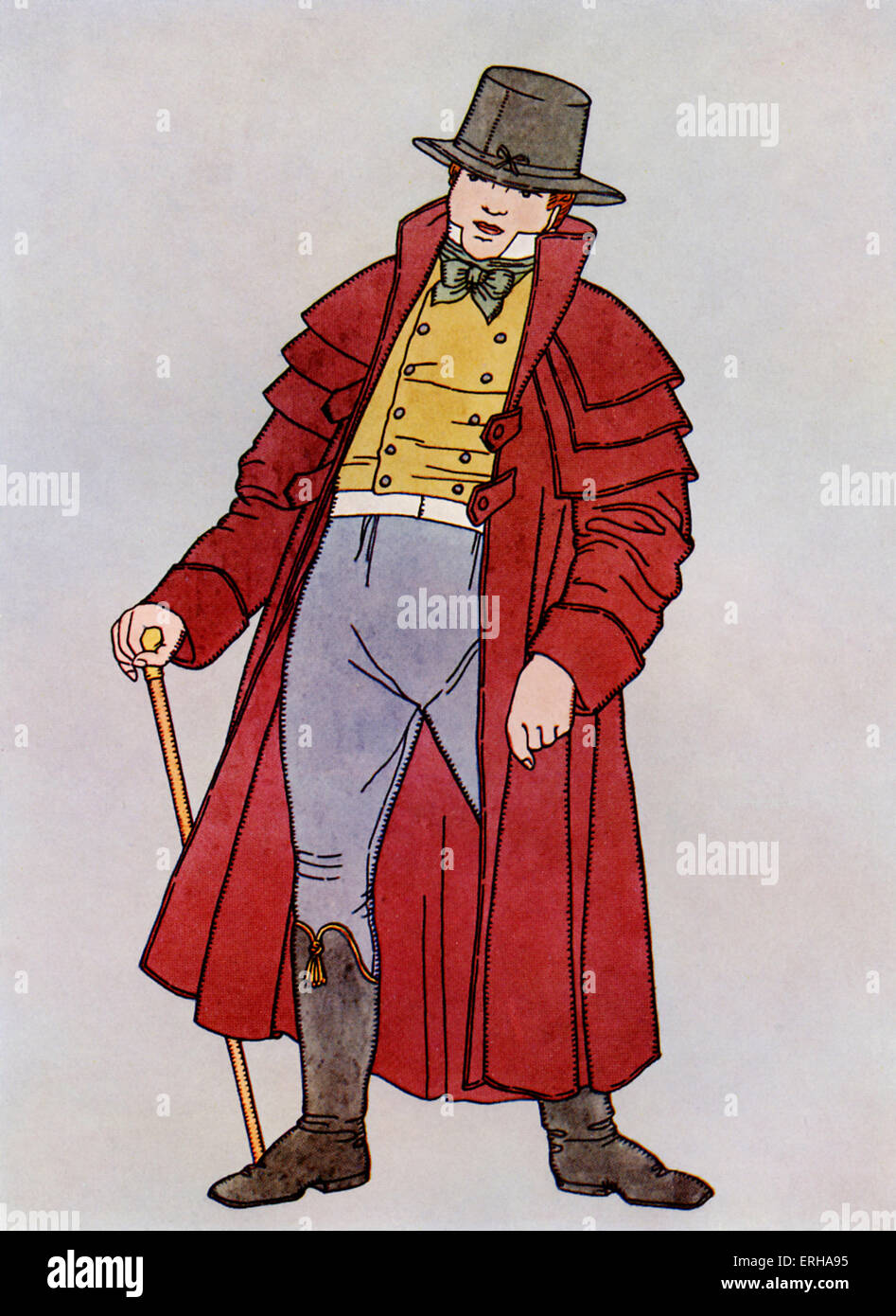 Depiction of a gentleman wearing the 'Garrick' stlye of overcoat, which was popular c.1800. - Stock Image