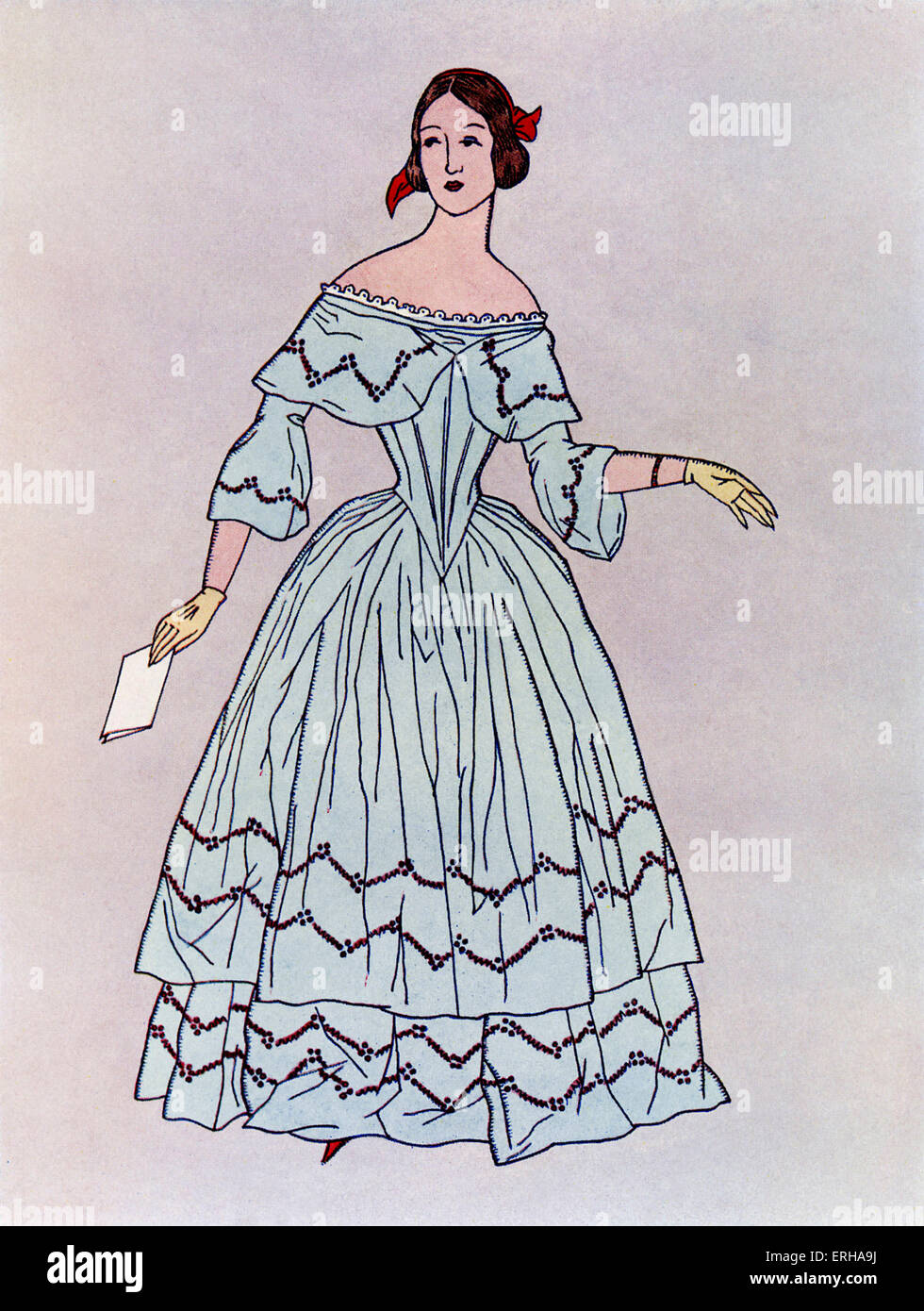 Lady in a mid-19th century dress, popular c.1844. Widening from the waist downwards, such dresses were made up of - Stock Image