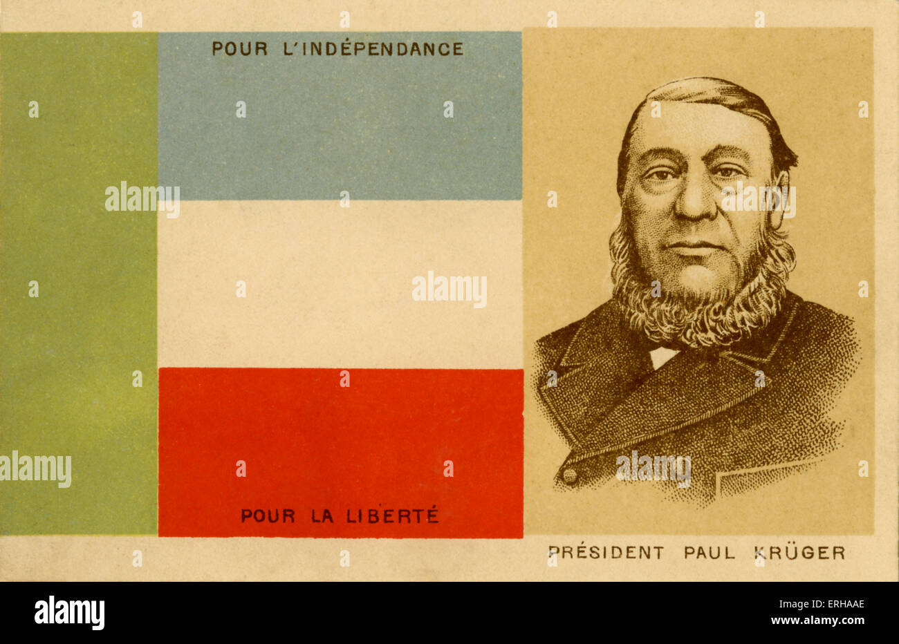 President Kruger (1825-1904) beside the Transvaal flag. Kruger had lead Transvaal into the Second Boer War (1899 - Stock Image