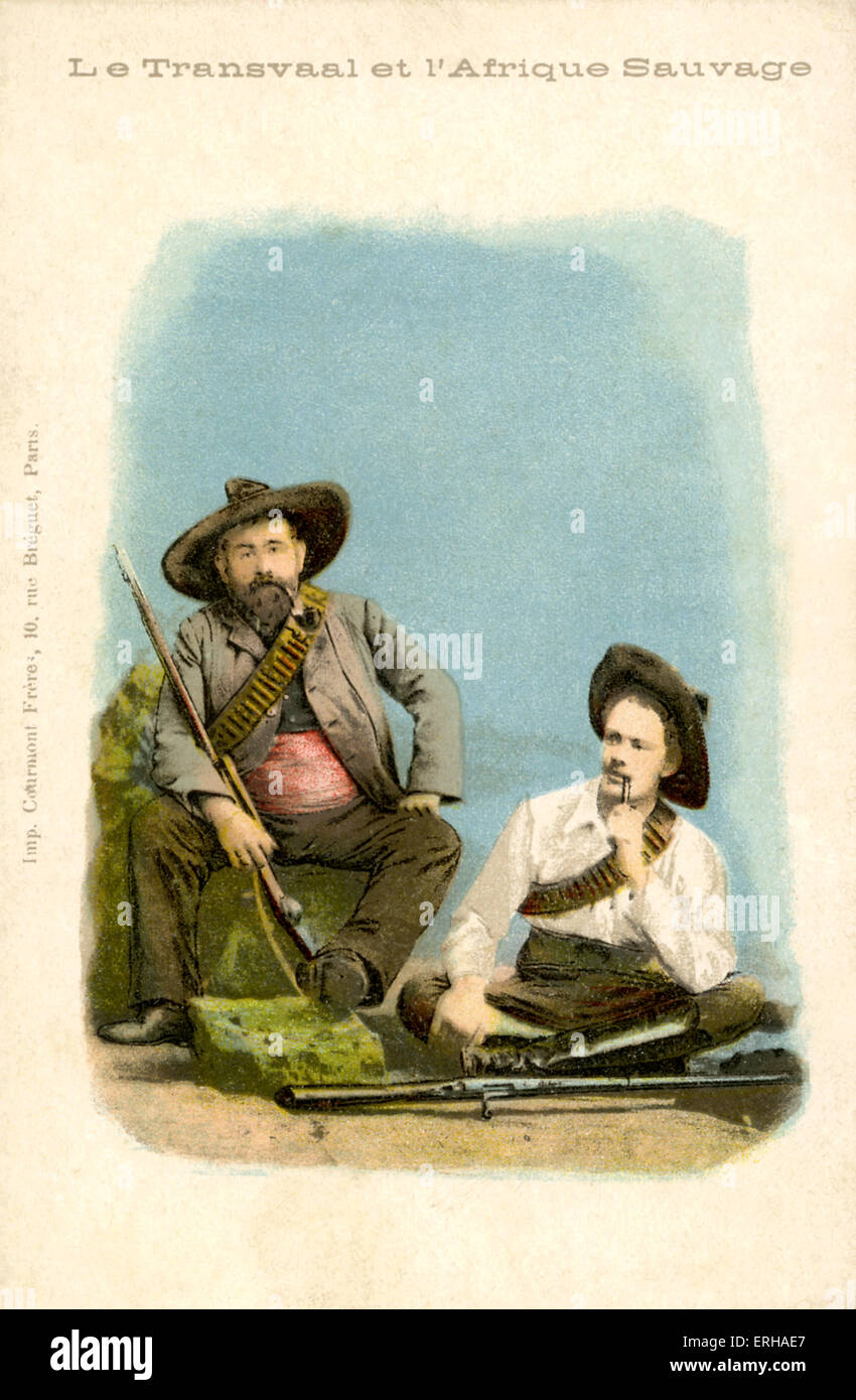 Two Boer Warriors, dressed as combatants in the Second Boer War (1899-1902). Caption reads: 'le transvaal et - Stock Image