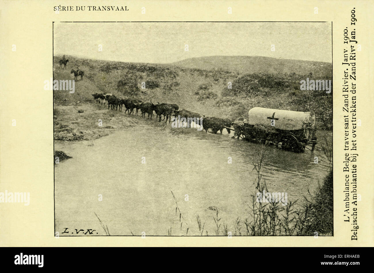 Belgian ambulance crossing the Zand river, during the Second Boer War (1899-1902). Caption reads 'L'Amulance - Stock Image