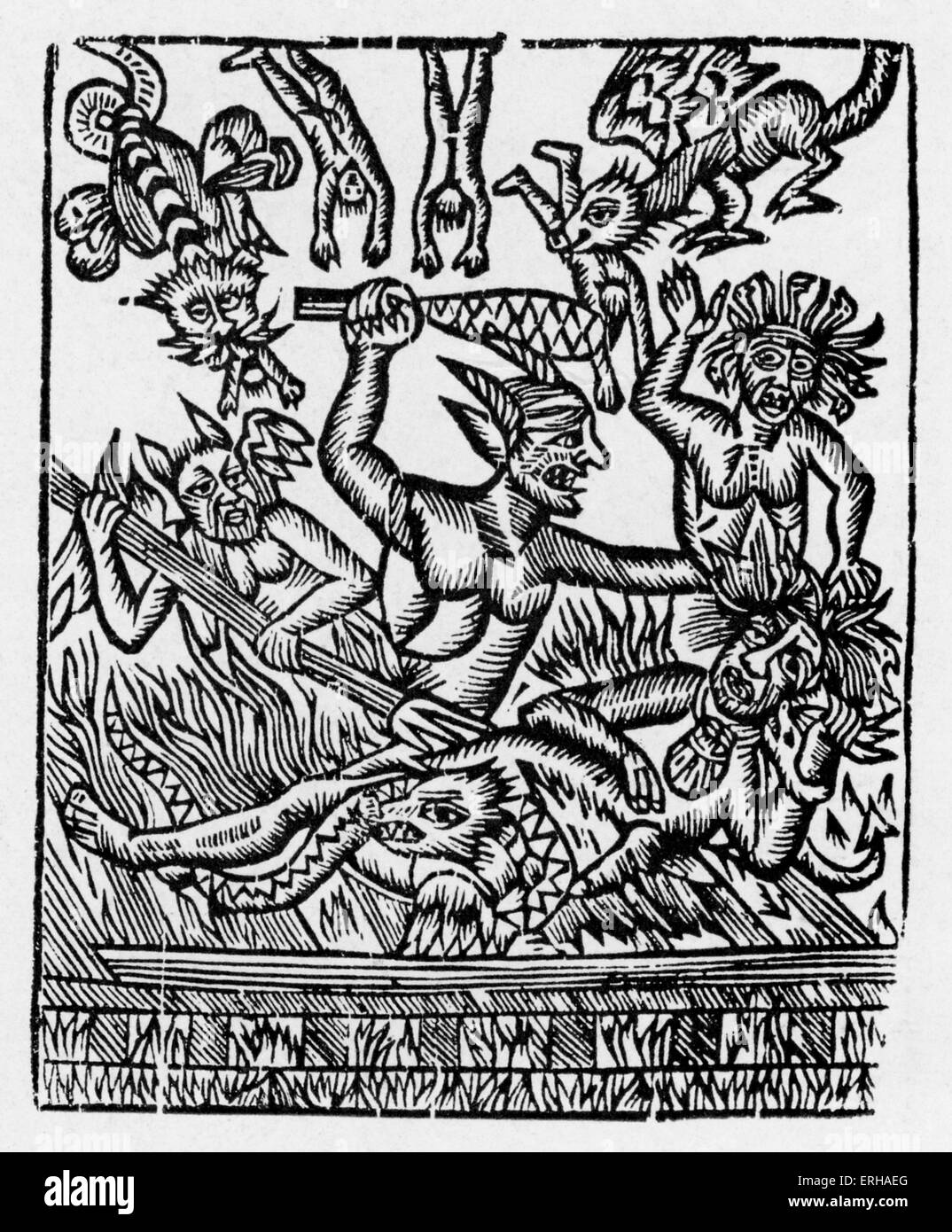 La Danse Macabre - wood engraving printed by Guyot Marchant, 1486, Paris. Copied by Jehan Lecocq, Troyes, 1539 and - Stock Image