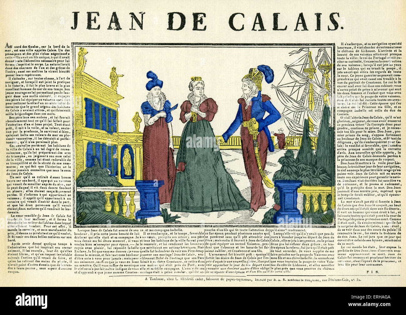 Jean de Calais - wood engraving printed by L. Abadie (Younger) of Toulouse, France. Beginning of 19th century.  - Stock Image