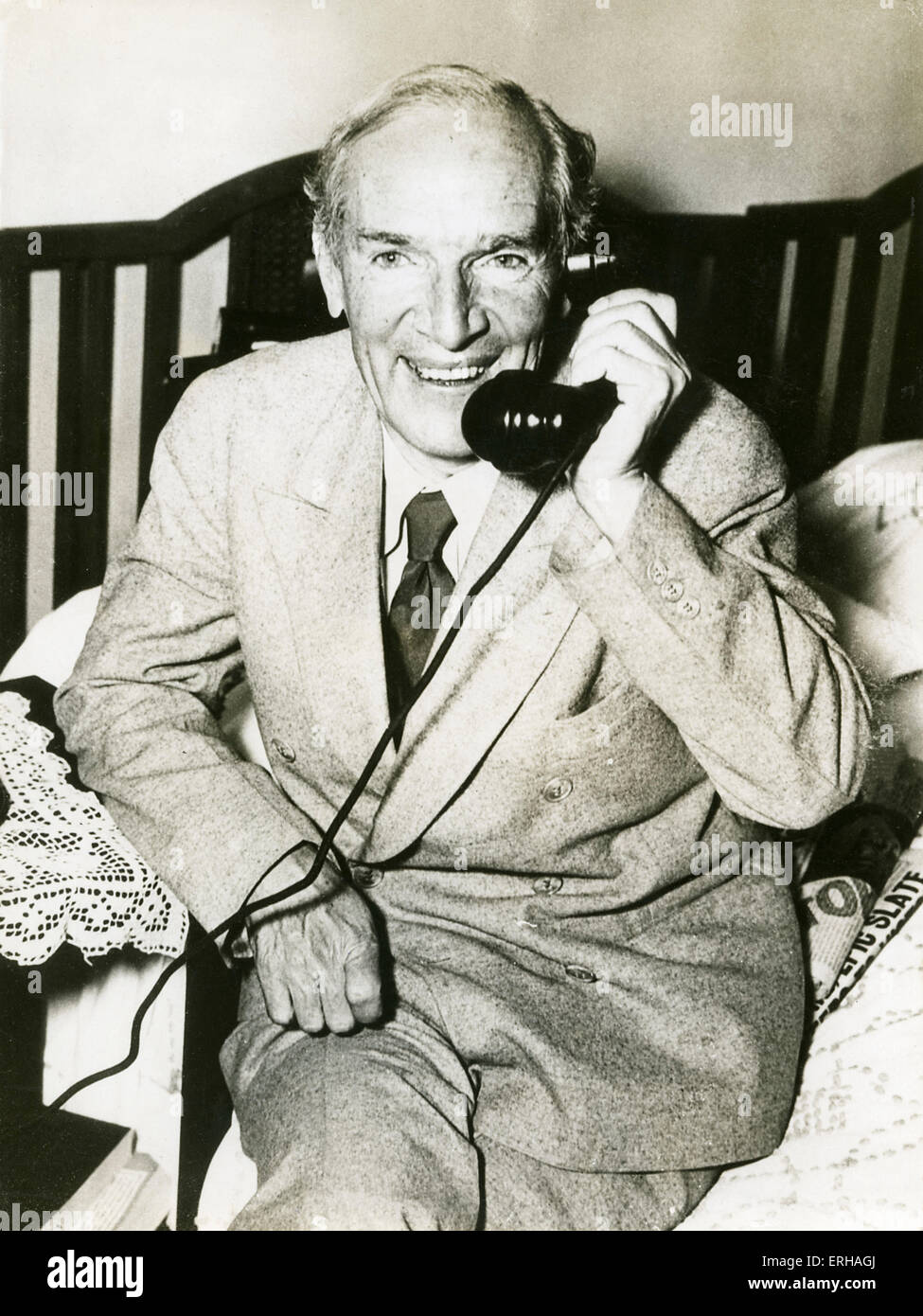 Upton Sinclair (1878-1968), novelist and politician, telephoning during his electon campaign, taken November 6th - Stock Image