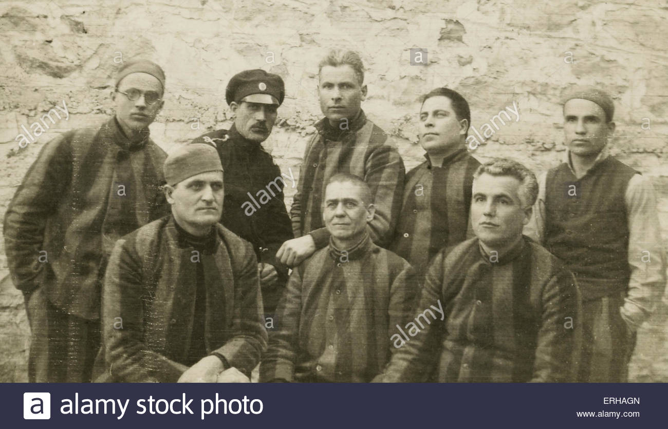 Political prisoners in Bulgaria, 1936. After the Bulgarian coup d'etat of 1934, in which the Zveno organisation - Stock Image