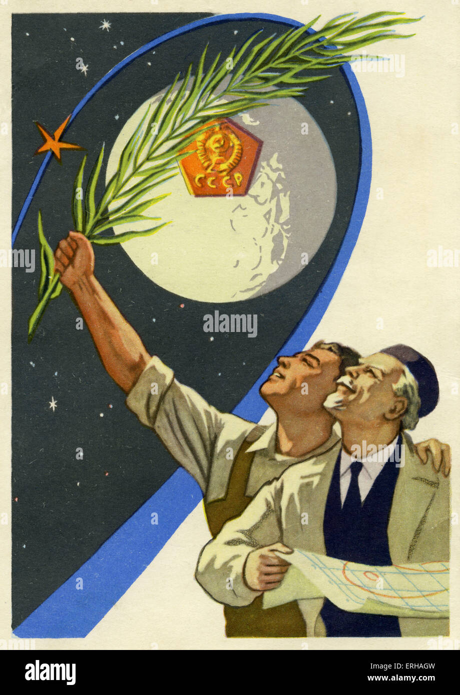 Soviet workers and engineers in the Space Race. Sputnik, the first artifical Earth satellite, was launched into - Stock Image
