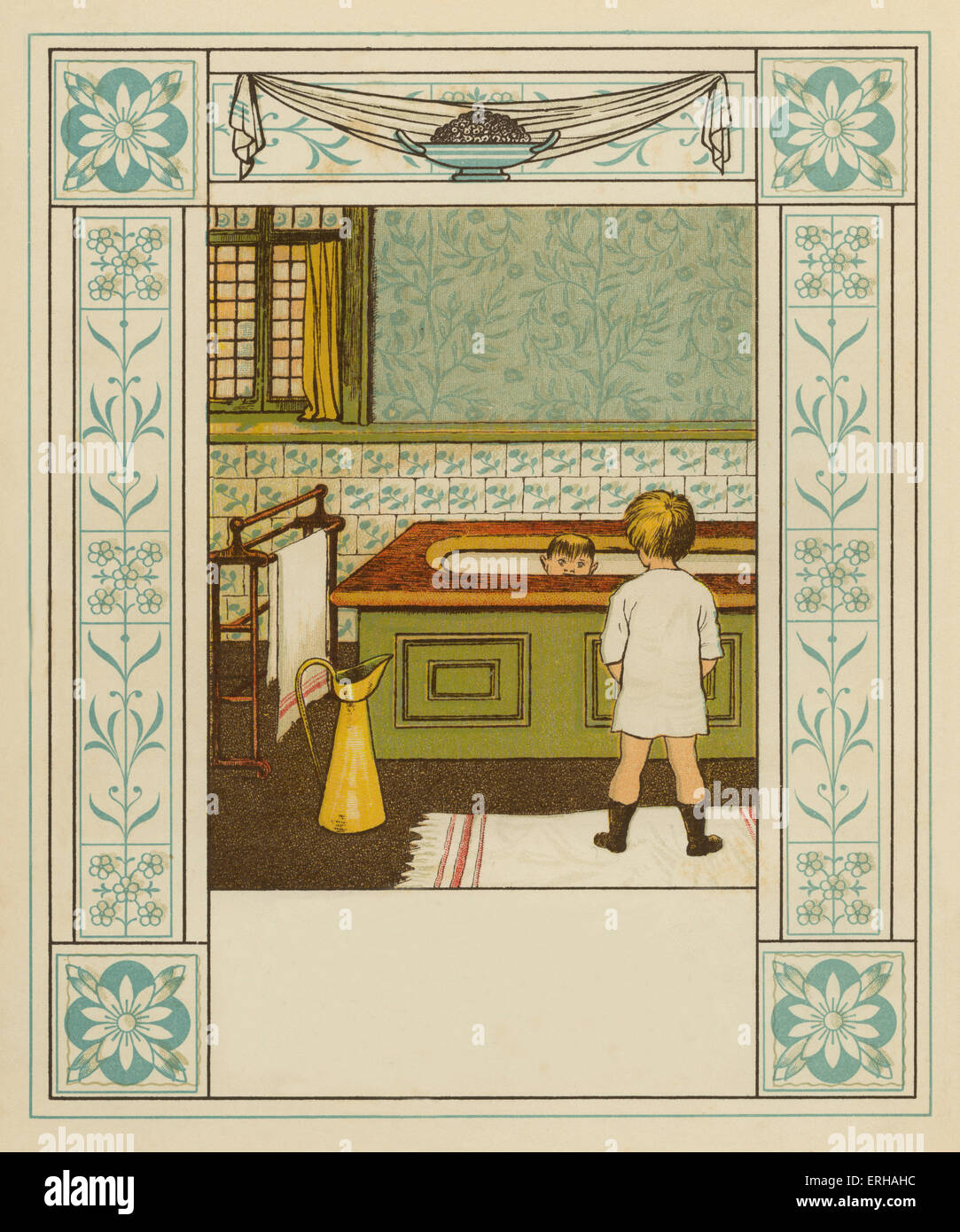 Two Victorian brothers in the bathroom, after an illustration by J.G. Sowerby. The younger brother sits in the bath, - Stock Image