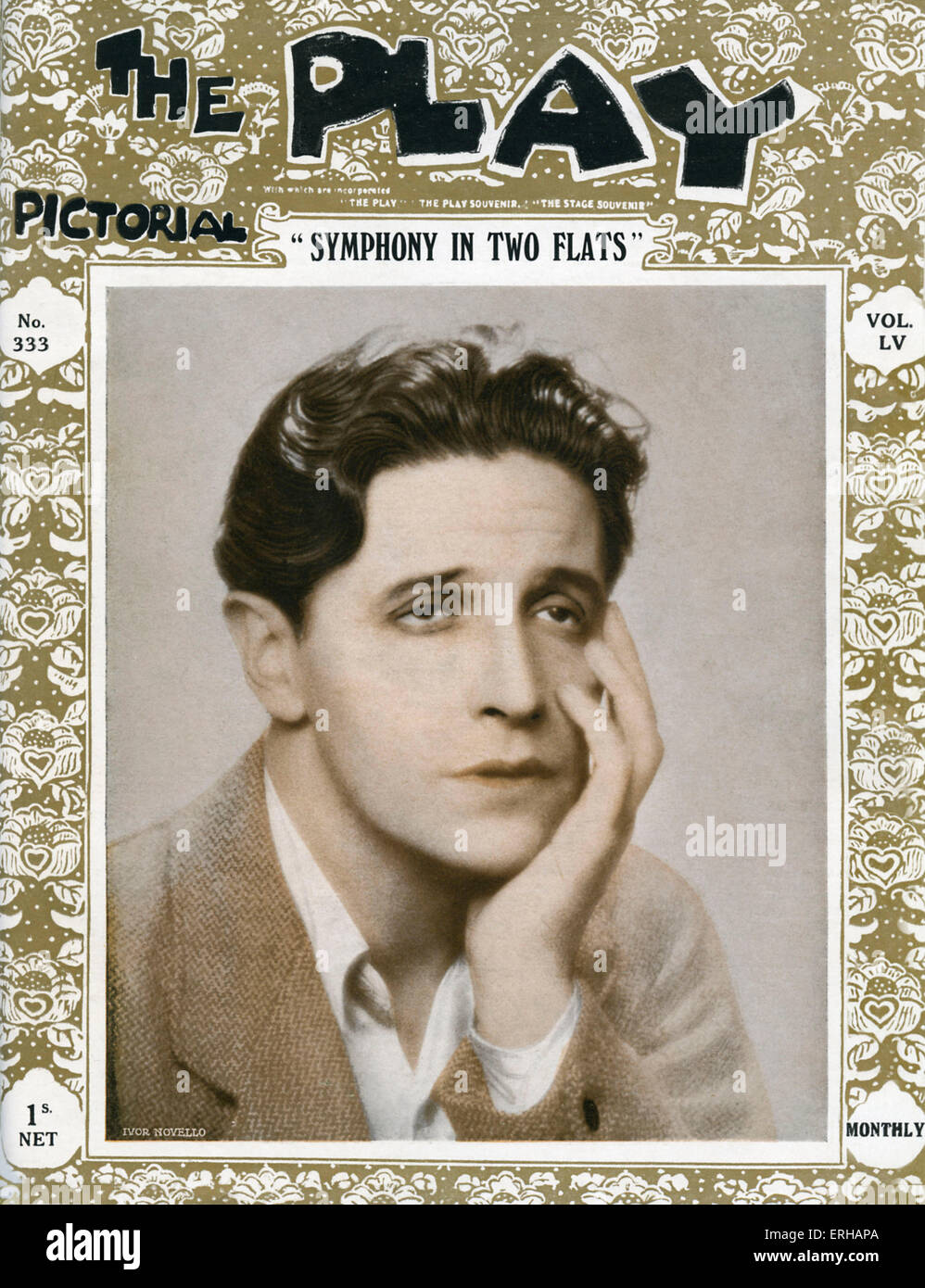Symphony in Two Flats by Ivor Novello, depicted, 1929.The Play, vol. 55, no. 333, Welsh singer, composer, actor - Stock Image