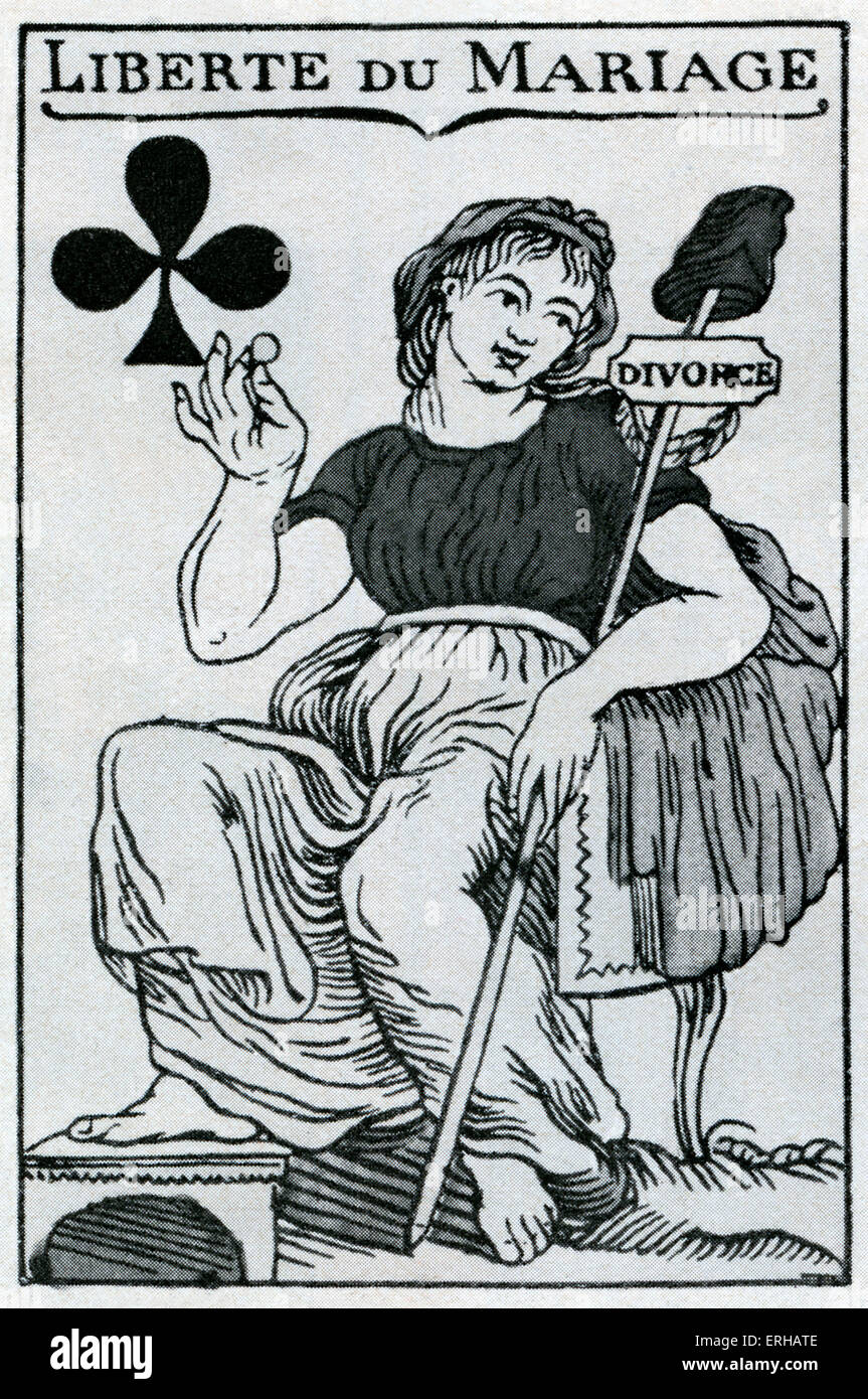 Freedom of Marriage (Liberte du Mariage) from the ace of clubs on a French Medieval playing card. - Stock Image