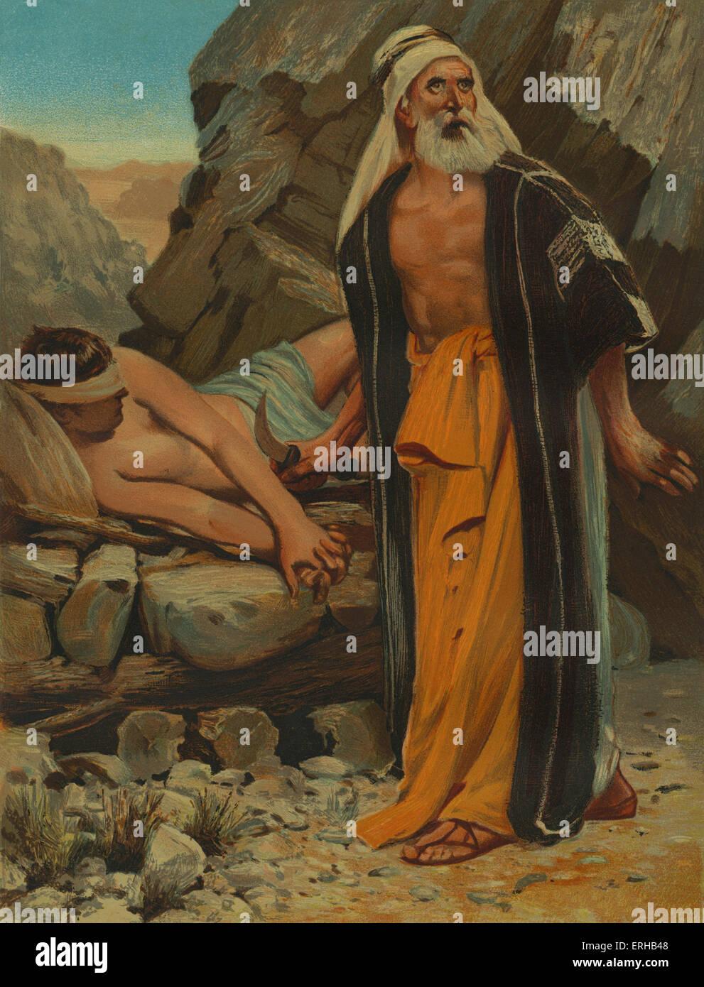 Abraham's sacrifice. Abraham prepares to offer his son, Isaac, as a sacrifice to God on Mount Moriah (Genesis:22). - Stock Image