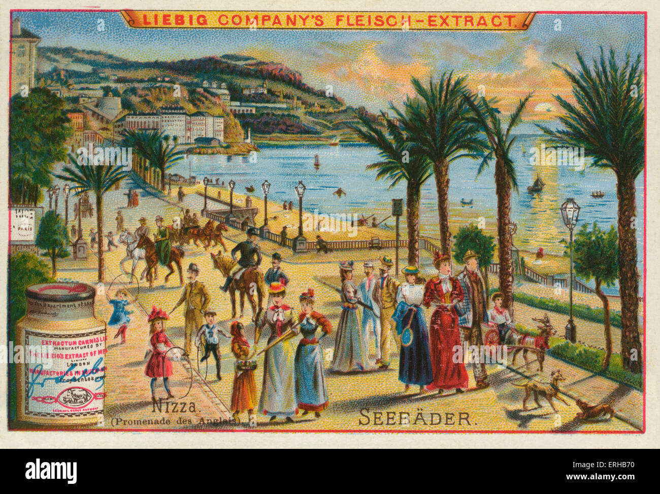 The Promenades des Anglais in Nice, Southern France. Seebader series, Liebig card, 1895 (3 of 6). - Stock Image