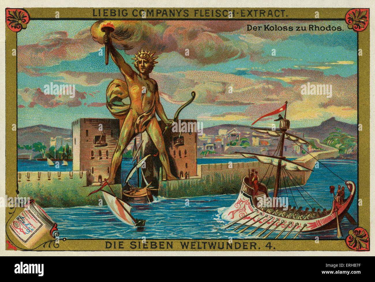 Colossus of Rhodes (German: Der Koloss zu Rhodos).  Statue of the Greek Titan Helios  built on Rhodes by Chares - Stock Image