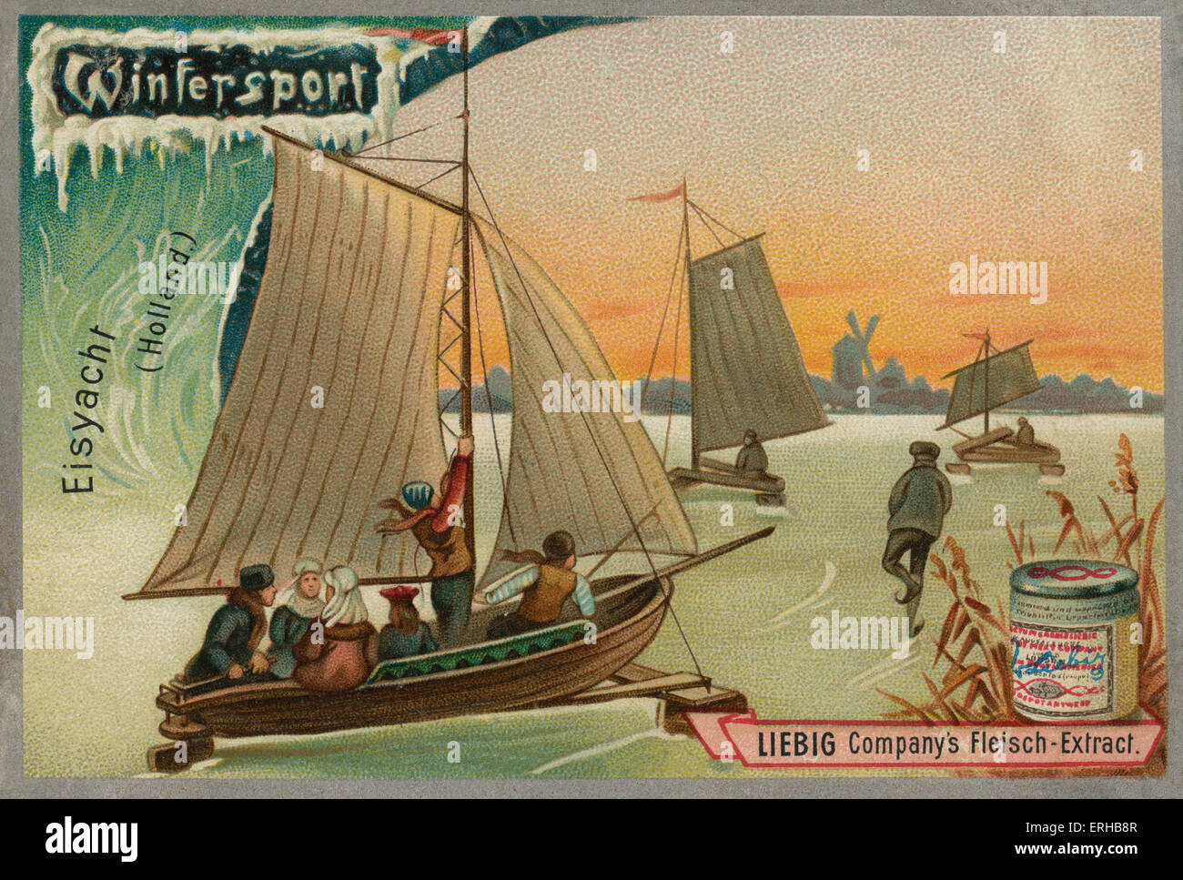 Ice yachting / eis yacht, Holland. Liebig card, Winter Sports, 1896. - Stock Image
