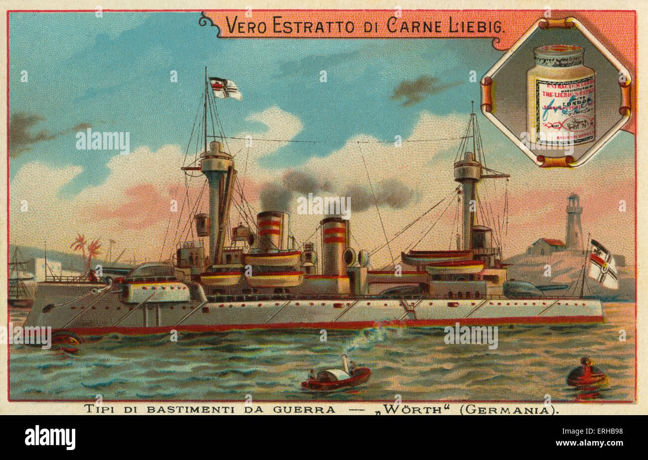 A German war ship - 'Worth' . Liebig card, War Ships, 1897. - Stock Image