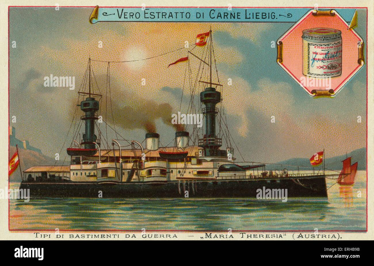 AnAustrian war ship - 'Maria Theresiar'. Liebig card, War Ships, 1897. - Stock Image