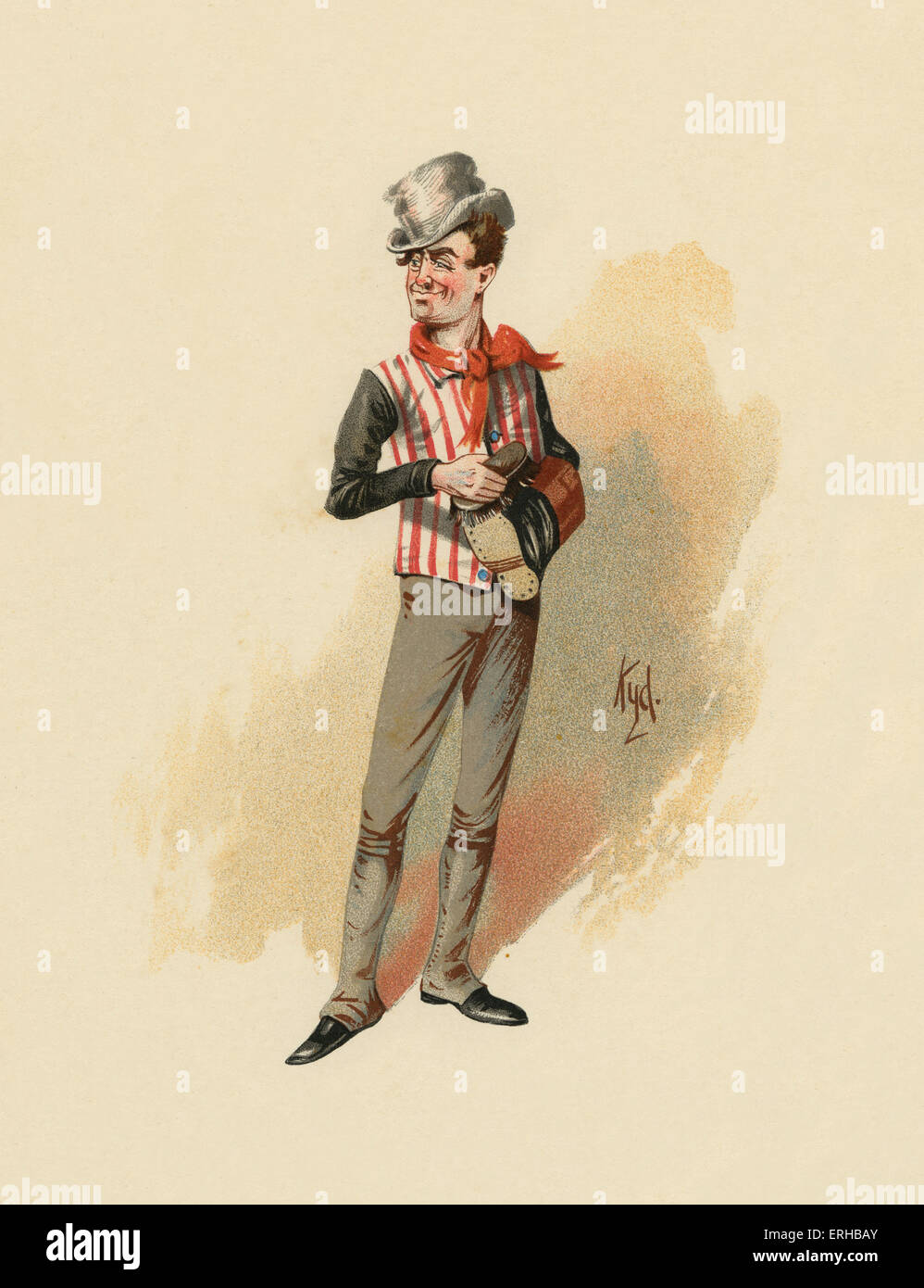 The Pickwick Papers by Charles Dickens  (1836). Illustration of Sam Weller. Caption reads: 'We eats our biled - Stock Image