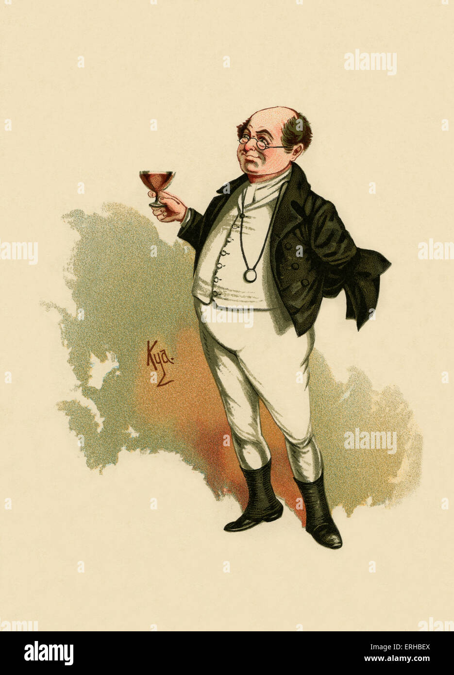 The Pickwick Papers by Charles Dickens (1836). Illustration of Mr Pickwick. Caption reads:'Mr. Pickwick was - Stock Image