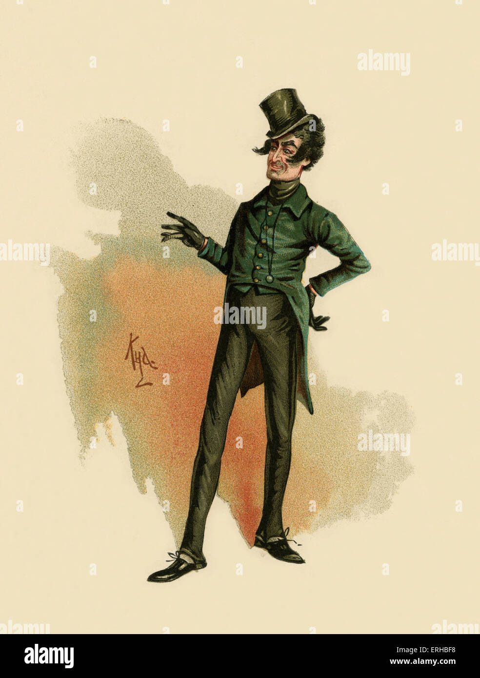 The Pickwick Papers by Charles Dickens (1836). Illustration of Mr.Jingle. Caption reads:  'Jingle,' said - Stock Image