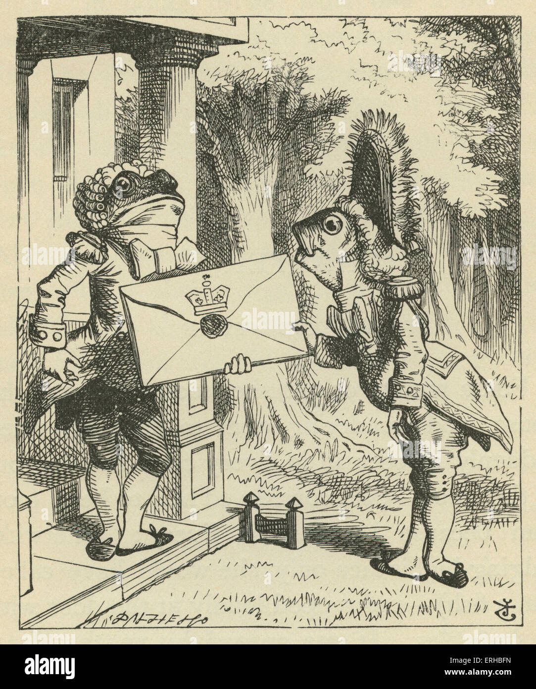 The Fish-Footman, Lewis Carroll's (1832-1898) book 'Alice's Adventures in Wonderland'. Illustrated by John Tenniel. Stock Photo