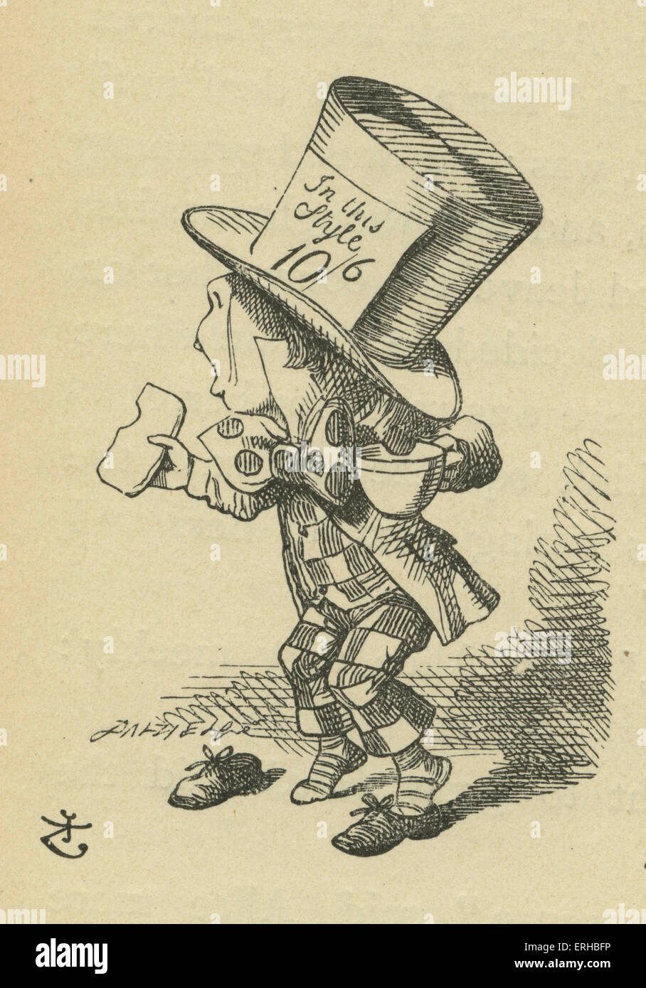 The Mad Hatter, Lewis Carroll's (1832-1898) book 'Alice's Adventures in Wonderland'. Illustrated - Stock Image