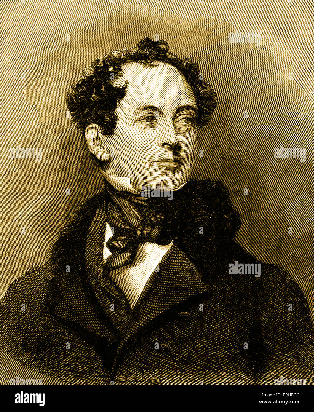 Thomas Moore - portrait of  Irish writer, 1779-1852. - Stock Image
