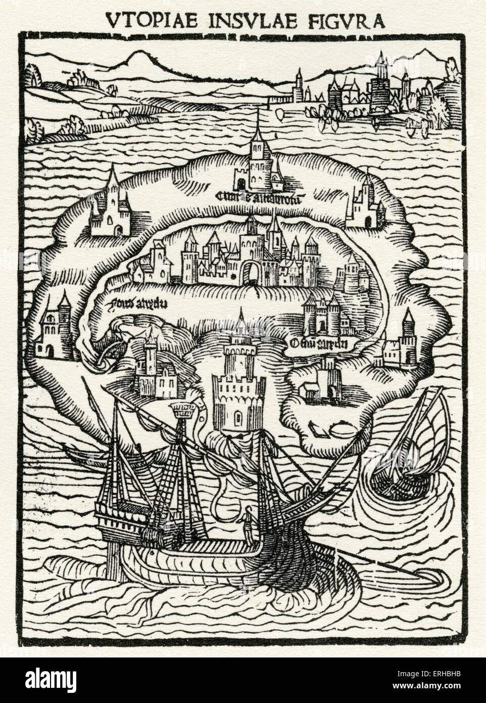 The Island of Utopia - from woodcut in Thomas More's Utopia. 1st edition, 1516 (Caption: Utopiae Insulae Figur - Stock Image