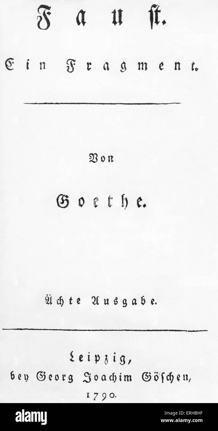 Johann Wolfgang Goethe, 'Faust, Ein fragment ', cover, 8th edition,published  Leipzig, Georg Joachim Goeschen, - Stock Image