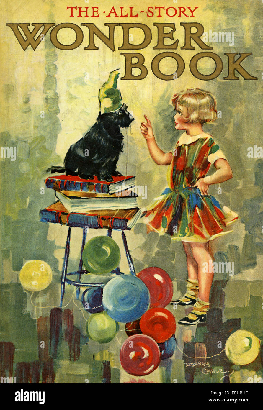 The All-Story Wonder Book, illustration by W. Lindsay Cable. A child teaches a dog to stand upon a pile of books - Stock Image