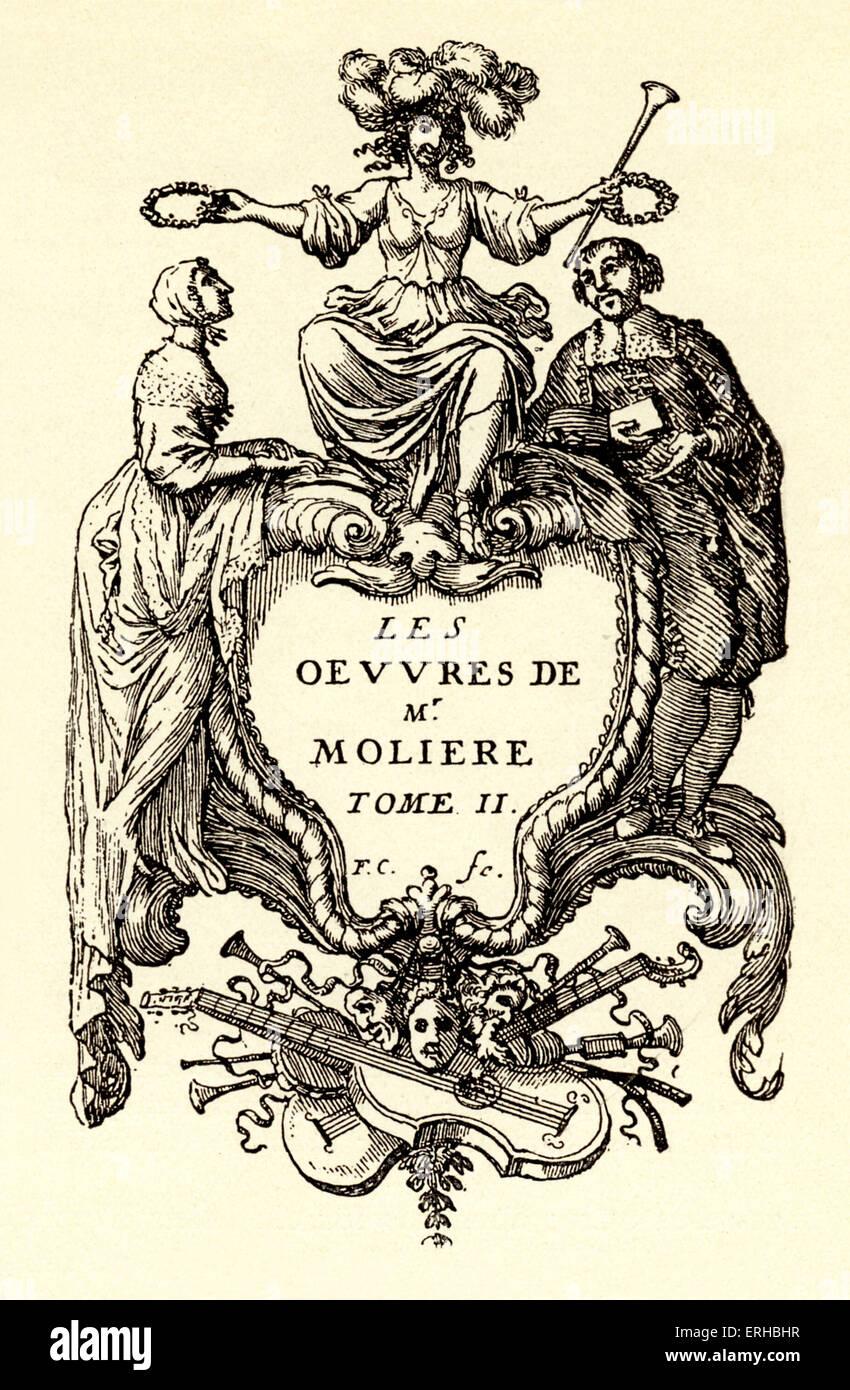 Works of Molière, 2nd Volume - title page with engraving by F. Chauveau. 1666, Paris. M: Jan-Baptiste Poquelin. - Stock Image