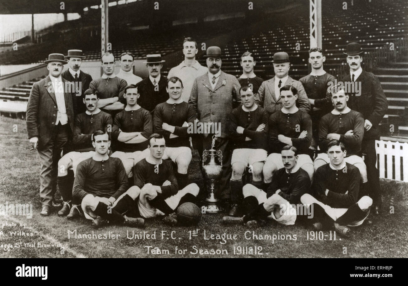 Manchester United football team for 1911-1912 season.  Caption reads: Manchester United FC 1st League Champtions - Stock Image