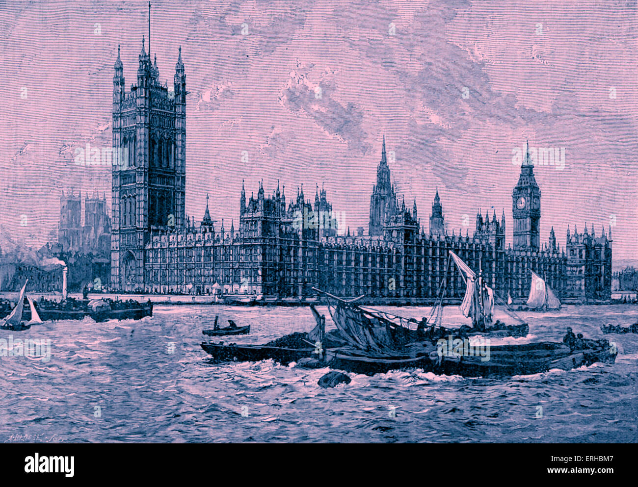 Houses of Parliament / Palace of Westminster, London. Designed by Charles Barry (23 May 1795 – 12 May 1860). After - Stock Image